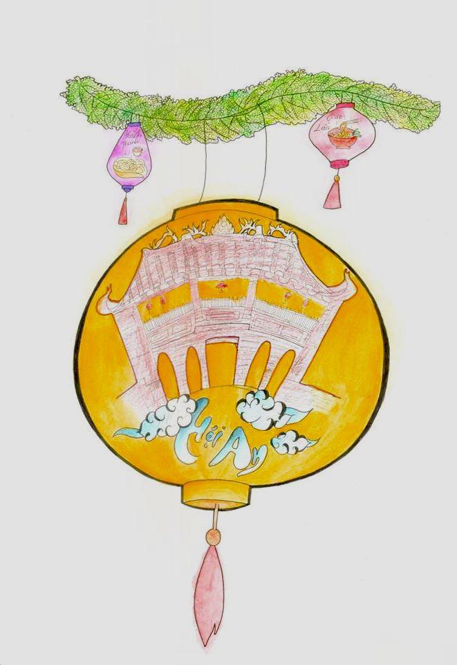 biểu tượng đèn lồng được vẽ Chùa Cầu